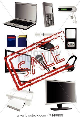 Ilustração da eletrônica detalhada com carimbo de venda