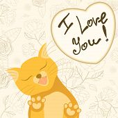 Cute romantic card with tender cat who licks the screen of monitor and wishes happy Valentine's day. Romantic concept background in cute colors. Inscription I love you. Floral vintage design poster