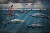 Competitive business concept with businesswoman swimming with sharks poster