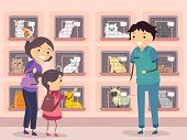 Illustration of a Family Visiting a Cat Shelter poster