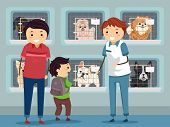Illustration of a Family Visiting a Dog Shelter poster