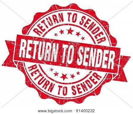 Return To Sender Red Grunge Seal Isolated On White