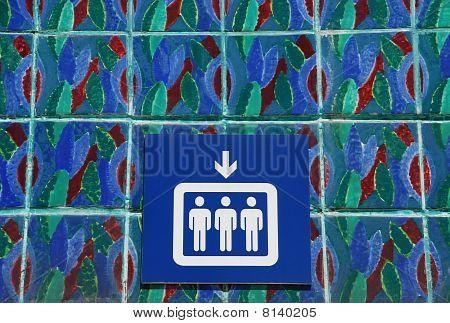 Elevator Sign On Azulejos