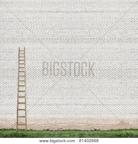 huge white brick wall