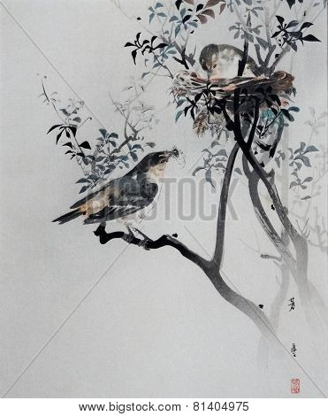 Vintage Japanese Print of Birds and Nest