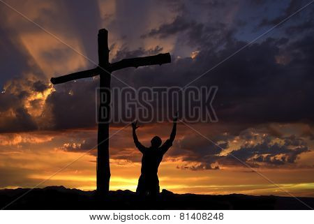 Dramatic Sky Scenery With A Worshiper