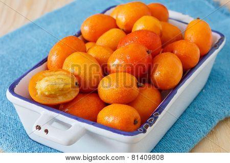 Fruit Jocote (red Mombin, Purple Mombin, Hog Plum, Ciruela Huesito, Sineguela,  Siriguela) On Blue