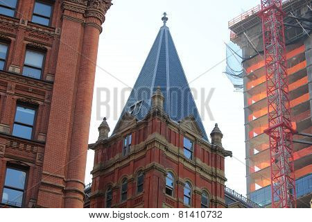 Presbyterian Brick Church with Potter Building and New Construction along Park Row in New York