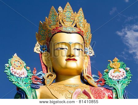 The Head Of Buddha Statue In Nubra Valley