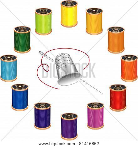 Silver thimble, needle and spools of thread, 12 vivid colors in circle design isolated on white background. poster
