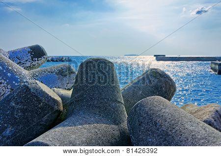 Seaside With Concrete Breakwater Tetrapod