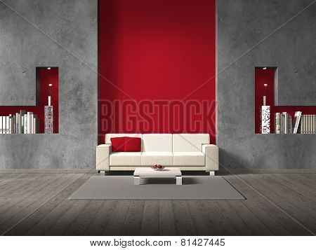 living room with sofa and red wall