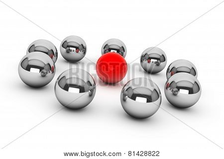 leadership Concept. Chrome spheres around red sphere on a white background poster
