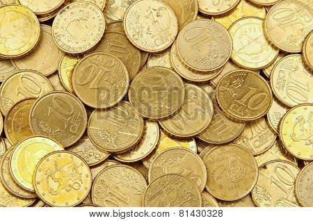 Pile Of 10 Cents Euro Coins