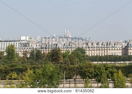 Paris - Montmarte and  Sacre Coeur  viewed from d'Orasay Museum