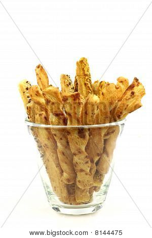 bunch of cheese pretzels in a glass bowl