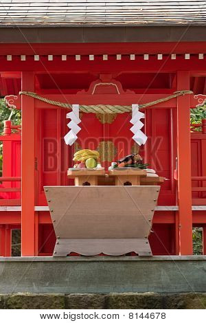 Food Offerings At A Japanese Shinto Shrine At New Years