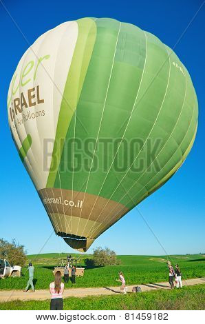 Filling A Hot Air Balloon In Israel