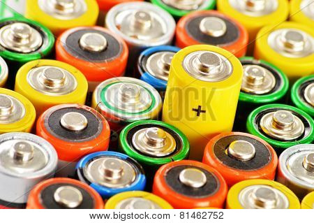 Composition with different alkaline batteries. Chemical waste poster