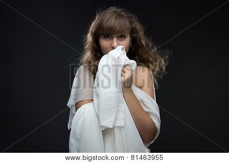Image of teenage girl in shyness