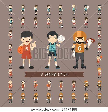 Set Of 43  Sportman Costume Characters