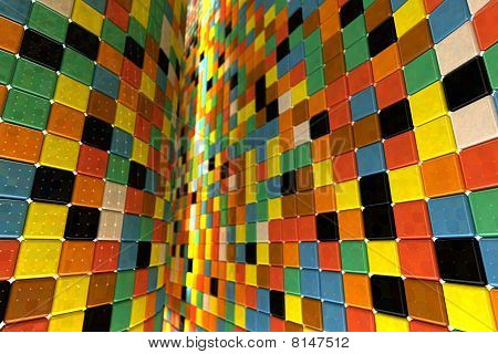 A wall of mosaic in the shape of squares poster