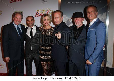 LOS ANGELES - JAN 29:  M McKeon, Michael Mando, Rhea Seehorn, Bob Odenkirk, Jonathan Banks, Patrick Fabian at the