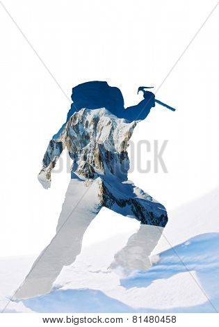 Double exposure: silhouette of a mountaineer celebrating the conquest of the summit, mixed with a mountain landscape. (Mont Blanc, Chamonix, France)