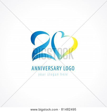 Anniversary 20 years hearts vector digit logo. Birthday greetings with framed tape heart shape. Holiday abstract numbers. Lovely card with celebrating figures 20 th.