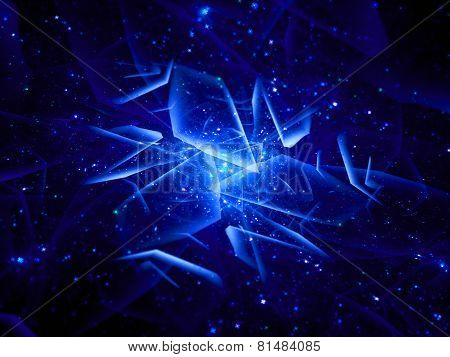 Blue Glowing Multi Dimensional Object In Space