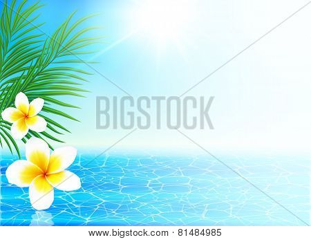 Calm sea and tropical flowers summer background