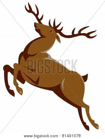 Elk Jumping Retro Style