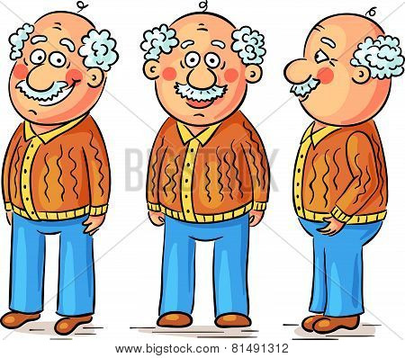 Cartoon grandfather character at different angles, editable vector file poster
