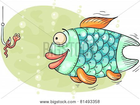 Hungry fish and the worm on hook