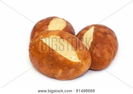 Salty biscuits on white background