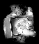 A black and white conceptual image of an old television set exploding poster