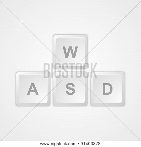 Computer keyboard WASD gaming buttons. Vector Illustration.
