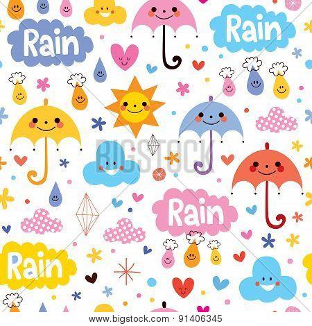cute umbrellas rain sky seamless pattern