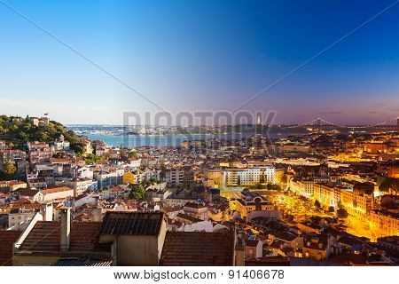 Aerial View Montage Of Lisbon Rooftop From Senhora Do Monte Viewpoint (miradouro)  Fromn Day To Nigh