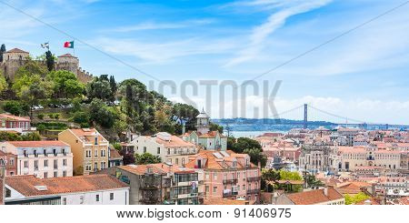 Panoramic view of Miradouro da Graca viewpoint in Lisbon Portugal poster