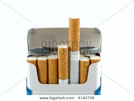 Open Pack Of Cigarettes Isolated On White