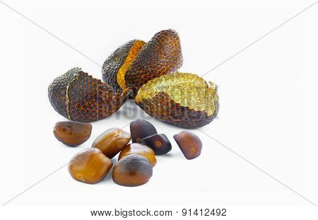 Close view of snake skin fruit's seeds and peel poster