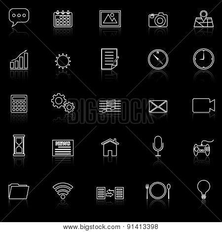 Application Line Icons With Reflect On Black