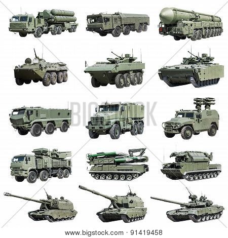 Armoured Military Vehicles Russia Isolated On White Background. Set Images