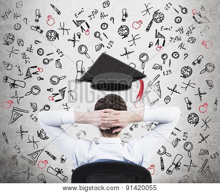 A Prospective Student Is Pondering Over The Advantages Of Education. A Concept Of The Further Busine