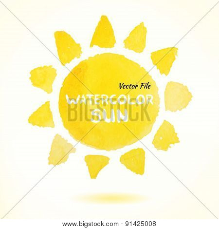 Watercolor Hand Drawn Vector Sun