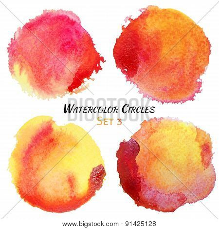Watercolor Red And Yellow Colorful Circles Set
