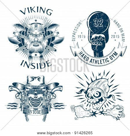 Shabby logos or emblems in old-school style. Emblems: Viking, wild west, skeleton pilot, athletic club. poster