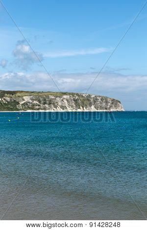 A Photo Taken On A Spring Day At Swanage Beach Looking Towards The Boats On The Sea