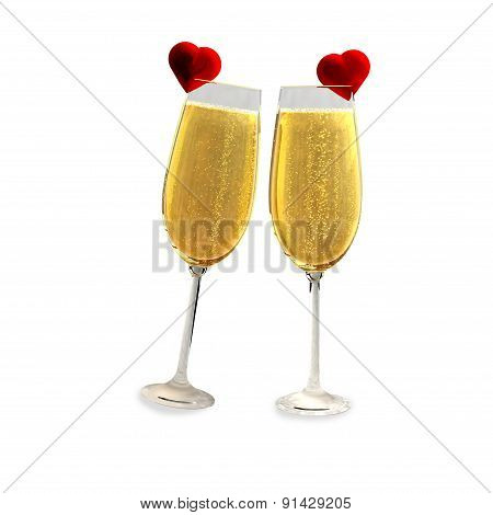 Two champagne glasses with two red hearts